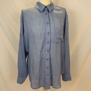 Free People blue button front tunic shirt dress